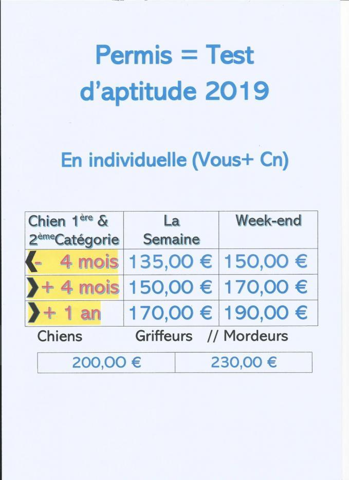 2019 tarifs test aptitude